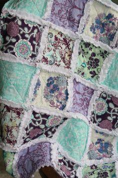 Baby Girl Rag Quilt, Purple Aqua Nursery, Minky Quilt, Baby Girl Gift, Baby Shower Gift