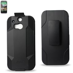 Reiko Silicone Case+Protector Cover HTC One M8 Black Holster With Clip