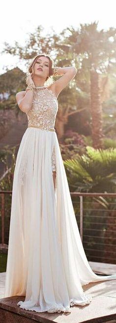 A-line High Neck Lace Bodice Ivory Chiffon Prom Dresses Beach Wedding Dresses http://wedding-dresseswomen.blogspot.com