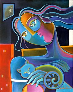 Cubism Abstract Original Oil painting on canvas Marlina Vera