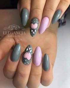 30 Ideas Fails Design Valentines Day Holidays For 2019 - Valentinstag Nageldesign Fancy Nails, Cute Nails, Pretty Nails, My Nails, Holiday Nails, Christmas Nails, Feather Nails, Cute Spring Nails, Work Nails