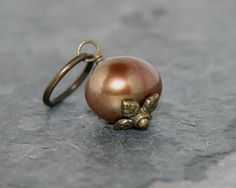 Bronze pearl charm with antique brass bead cap and ring - Add a Charm