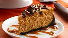 Creamy, dreamy cheesecake made just for autumn. Delight your senses with a beautiful blend of chocolate, nuts, pumpkin and spices, crowned with caramel!