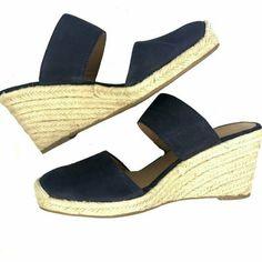 62fa22cafab6 Franco Sarto Womens Leather Blue Closed Toe Slide Espadrille Wedges Sz 10   FrancoSarto  Espadrilles  Casual