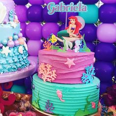 Charlotte wants this one Little Mermaid Birthday Cake, Little Mermaid Cakes, Little Mermaid Parties, Birthday Cake Girls, 5th Birthday, Sirenita Cake, Cupcake Icing Recipe, Bolo Fack, Ariel Cake