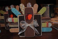 Thanksgiving Turkey made a 2x4, craft sticks, and a paint stick.