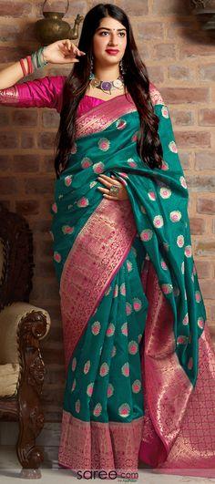 Teal Green Banarasi Silk Traditional Saree with Woven Buttas and Contrast Border and Pallu Lehenga Choli, Silk Sarees, Sari, Green Saree, Saree Models, Traditional Sarees, Teal Green, Salwar Suits, Indian Dresses