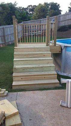 Above Ground Pool Stairs, Small Above Ground Pool, Above Ground Pool Landscaping, Backyard Pool Landscaping, Landscaping Ideas, Deck Ideas For Above Ground Pools, Inexpensive Landscaping, Backyard Parties, Patio Ideas