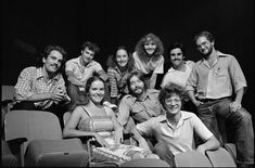 Cast ensemble photo of the Steppenwolf Theatre Company (Chicago, IL), 1980.  Standing (L to R): John Malkovich, Gary Sinise, Laurie Metcalf, Joan Allen, Randall Arney, Alan Wilder.  Sitting (L to R): Moira Harris, John Mayer, Jeff Perry.  Launched in a church basement in 1976, Steppenwolf quickly became one of the leading theater companies in Chicago.  Four of these original members (Allen, Malkovich, Metcalf, Sinise) would become future Academy Award nominees.