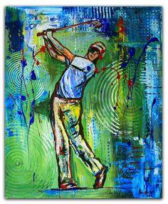 BURGSTALLER ORIGINALGolf Gemälde Bild Golfer Golfspieler Malerei Turnierpreis 69