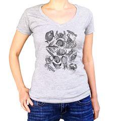 Women's Sea Life Nautical Vneck T-Shirt - Juniors Fit