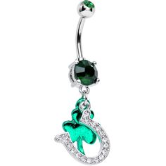 Green CZ Get Lucky Horseshoe and Clover Dangle Belly Ring | Body Candy Body Jewelry #bodycandy