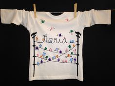 Bird Hangout.#hand #painted #personalized #tshirt with your name added as part of the wire!  #kids #lesradisbleus