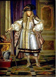 Luis XIV vestido para un baile de disfraces.
