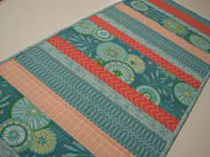 Quilted Table Runner, Modern Graphic Floral Table Runner, Aqua and Melon Table Mat, Quiltsy Handmade by VillageQuilts on Etsy