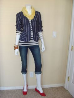 Daily Look:  CAbi Spring '12 Johnny Crop, Playtime Tee and Classic Blazer with yellow infinity scarf and cute red flats.  Love.