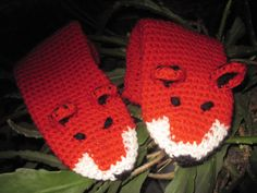 Funny Chunky Crochet Mittens Fox Unisex Boy Girl by 2HandMade, $22.00