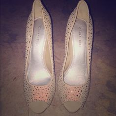 Gianni Bini Suede Nude w/rhinestones Please refer to pictures. Gianni Bini Shoes Heels