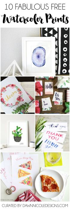 10 Free Watercolor Printables | dawnnicoledesigns.com