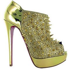 Christian Louboutin Booties Bridget's Back Spiked Gold