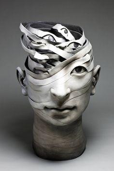 Ceramic Sculpture by Haejin Lee Ceramic Figures, Ceramic Art, Contemporary Ceramics, Contemporary Art, Sculpture Head, Ceramic Sculptures, Modern Sculpture, A Level Art, Art Moderne