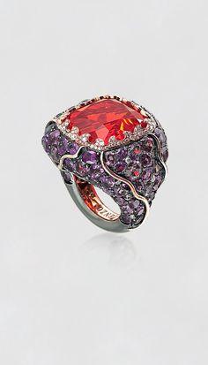 Tenzo Fire Opal and Garnet Ring
