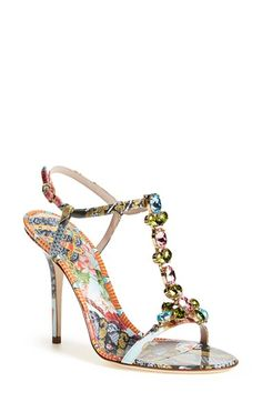 Free shipping and returns on Dolce&Gabbana Jeweled T-Strap Sandal (Women) at Nordstrom.com. In a mix of vibrant, exuberantly feminine prints that can only come from Domenico Dolce and Stefano Gabbana, this dazzling T-strap sandal is a bejeweled ode to the famed Italian design house.
