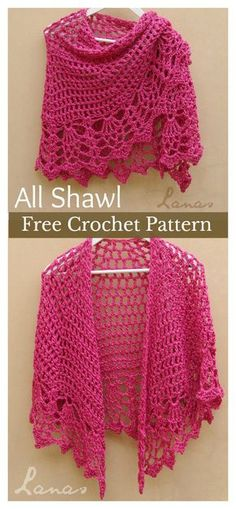 Crochet shawls are perfect for any season. Shawls are fun to crochet. There are many different ways to crochet a shawl. This Pineapple Stitch All Shawl Free Crochet Pattern will help you explore a new way to get warm with wraps. Poncho Crochet, Beau Crochet, Pull Crochet, Crochet Shawls And Wraps, Crochet Scarves, Crochet Clothes, Crochet Hats, Crochet Sweaters, Crochet Shrugs
