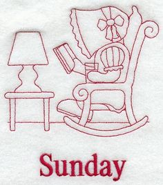 Sunbonnet Sue on Sunday (Redwork)