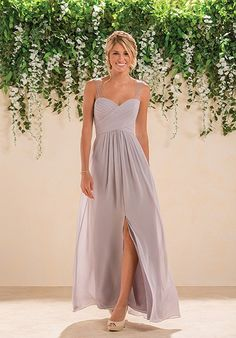Gray chiffon A-line bridesmaid dress with beaded illusion straps | B2 by Jasmine | Style: B183007