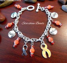 Peach Ribbon Cancer Awareness Bracelet by StarshineBeads on Etsy