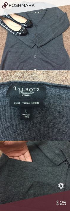 Talbots dark gray cardigan A beautiful pure Italian merino wool cardigan. Perfect for fall and winter. Layer it over a button down or a cami, boots or flats- either way is a perfect staple piece to add to your closet Talbots Sweaters Cardigans