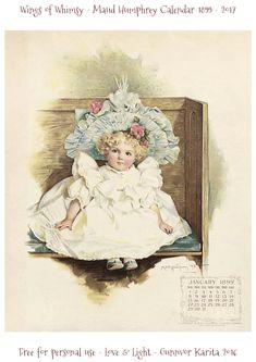 Wings of Whimsy: Maud Humphrey Calendar 1899 #vintage #ephemera #freebie #printable #calendar #maud #humphrey-kopi