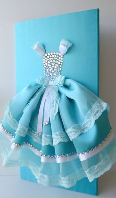 Aqua Blue Princess Dress.  A large 12X24 princess dress wall art on a satin upholstered canvas.  Princess dress is made with satin, tulle, lace and