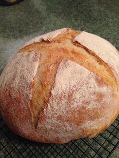 Sourdough bread using King Arthur Rustic Sourdough recipe baked in cast iron dutch oven.