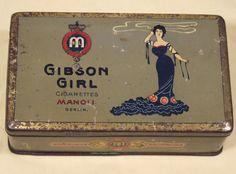 antique tobacco cigarettes tin gibson girl 1905