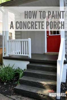 porch paint ideas Well, we can finally check the back porch off the big ugly to-do list on the house. Its only been two years in the making. But, dang, it looks good. Painted Concrete Steps, Stained Concrete Porch, Painted Porch Floors, Concrete Front Steps, Painted Front Porches, Front Porch Steps, Porch Paint, Porch Flooring, Concrete Stairs