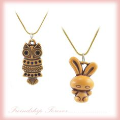 """ANTIFORMAL """"Owly Awake at Night"""" Faux Wood-Carved Pendant with Bronze Tone Vintage Chain"""