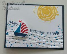 Stampin Up Handmade birthday Card for boy or man. Swirly Bird