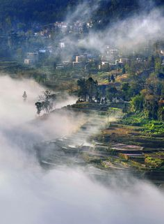 northeast of Yunnan with cloud and mist Beautiful landscape in northeast of Yunnan Chinese natural scenery