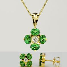 Vivid Radiant Electric Green Tsavorite Garnet & Diamond Necklace with matching Post Earrings - 14K yellow gold - Trade Wind Collection