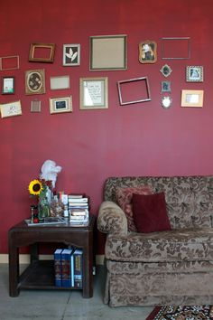 I love the idea of mismatched vintage/ found frames. I just can't decide which wall in the house to do....