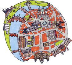 Prague by Dermot Flynn spherical map Prague Map, Map Sketch, Map Maker, Map Pictures, Map Painting, Travel Illustration, Vintage Maps, Map Design, Urban Sketching