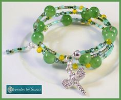 Dragonfly Charm Green Beaded Bracelet Her Green by JewelryByScotti
