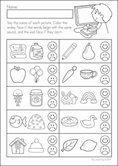 Kindergarten Back to School Math & Literacy Worksheets and Activities. 135 pages. A page from the unit: beginning sounds