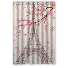 Paris Eiffel Tower Bathroom Shower Curtain 48 X 72