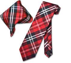 Vesuvio Napoli Black Red White PLAID NeckTie & Handkerchief Matching Tie Set