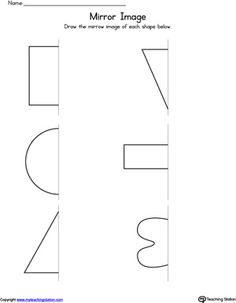 **FREE** Basic Shapes Mirror Image Worksheet Worksheet. Help your child identify the mirror image of these basic shapes and practice drawing the missing lines.