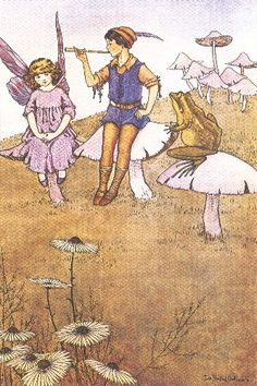 Rare illustration by Ida Rentoul Outhwaite from her first deluxe series, Elves and Fairies, produced in Australia by Thomas Lothian. Her illustrations are her enduring legacy of her love of the Australian bush. Fairytale Fantasies, Fairytale Art, Fairy Land, Fairy Tales, Fairy Paintings, Family Drawing, Elves And Fairies, Fairy Pictures, Mushroom Art