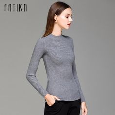 Fatika Women Turtleneck Knitted Sweater Female Knitted Slim Pullover Ladies  All-Match Basic Thin Long Sleeve Shirt Clothing 5fb454861